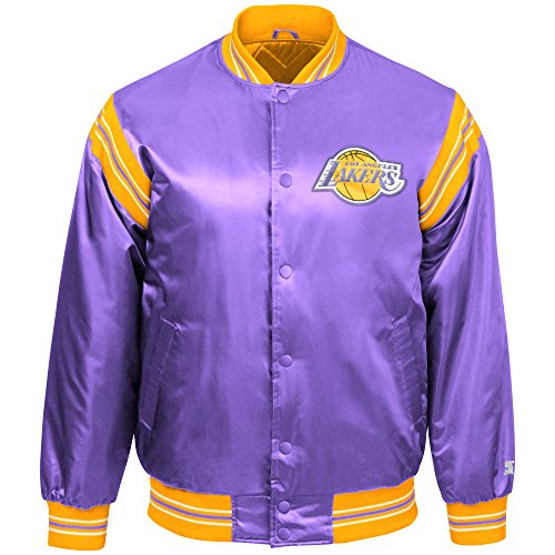STARTER NBA Los Angeles Lakers Youth Boys The Enforcer Retro Satin Jacket, Medium, Purple