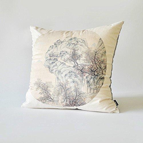 HOMEE Shanshui Ink Flower Art Pillow Sofa Cushion Chinese Fabrics Pillow New Chinese Fabrics ,55X55Cm E),F),46X46cm