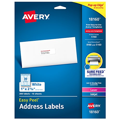 Avery Address Labels with Sure Feed for Laser & Inkjet Printers, 1
