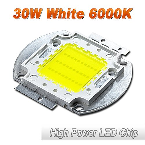 (Hontiey High Power LED Chip 30W Pure White Light 6000K-6500K Bulbs 30 Watt Beads DIY Spotlights Floodlight COB Integration Lamp SMD)
