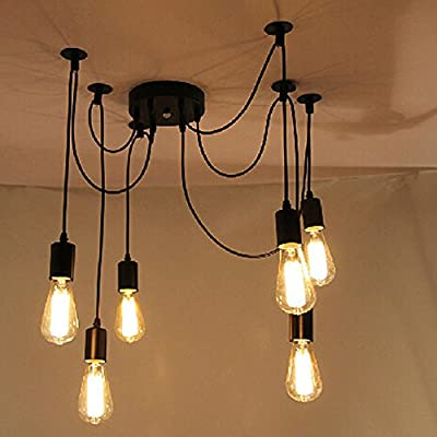 Trudged(TM) LIXADA Antique Classic Ajustable 6 Arms DIY Ceiling Spider Lamp Light E27 Retro Chandelier Pendant Dining Hall Hotel Decorative