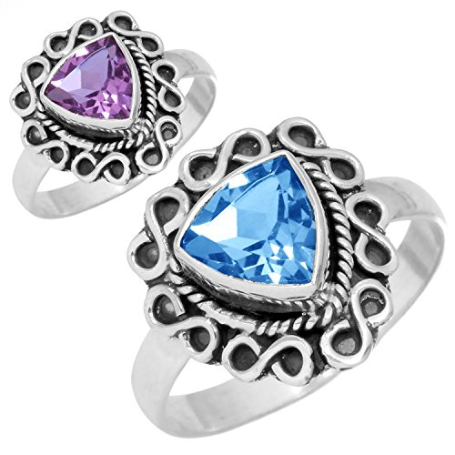 Alexandrite Color Change Gemstone Ring Solid 925 Sterling Silver...