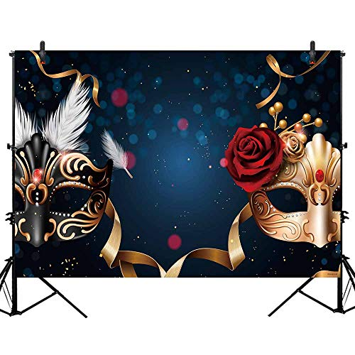 Allenjoy 7x5ft Polyester Black and Gold Mardi Gras Mask Carnival Backdrop Mysterious Masquerade Birthday Dancing Party Photography Background Wedding Sweet 16 Photo Shoot -