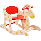 Emob Wooden Baby Rocking Horse Ride on Toy for Toddlers