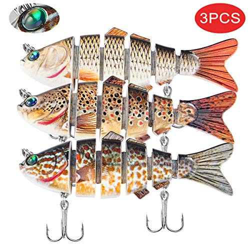 Fishing Lures Bass 4 in Multi Jointed Lifelike Swimbaits Trout Lures,Slow Sinking Hard Lure Fishing Sparkling Eyes