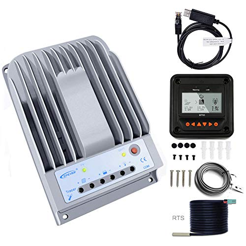 - MPPT Charge Controller 40A, EPever Solar Panel Charge Controller 150V PV Negative Grounded Solar Regulator Tracer 4215BN+ Meter MT-50 + Temp Sensor for Gel Sealed Flooded Battery