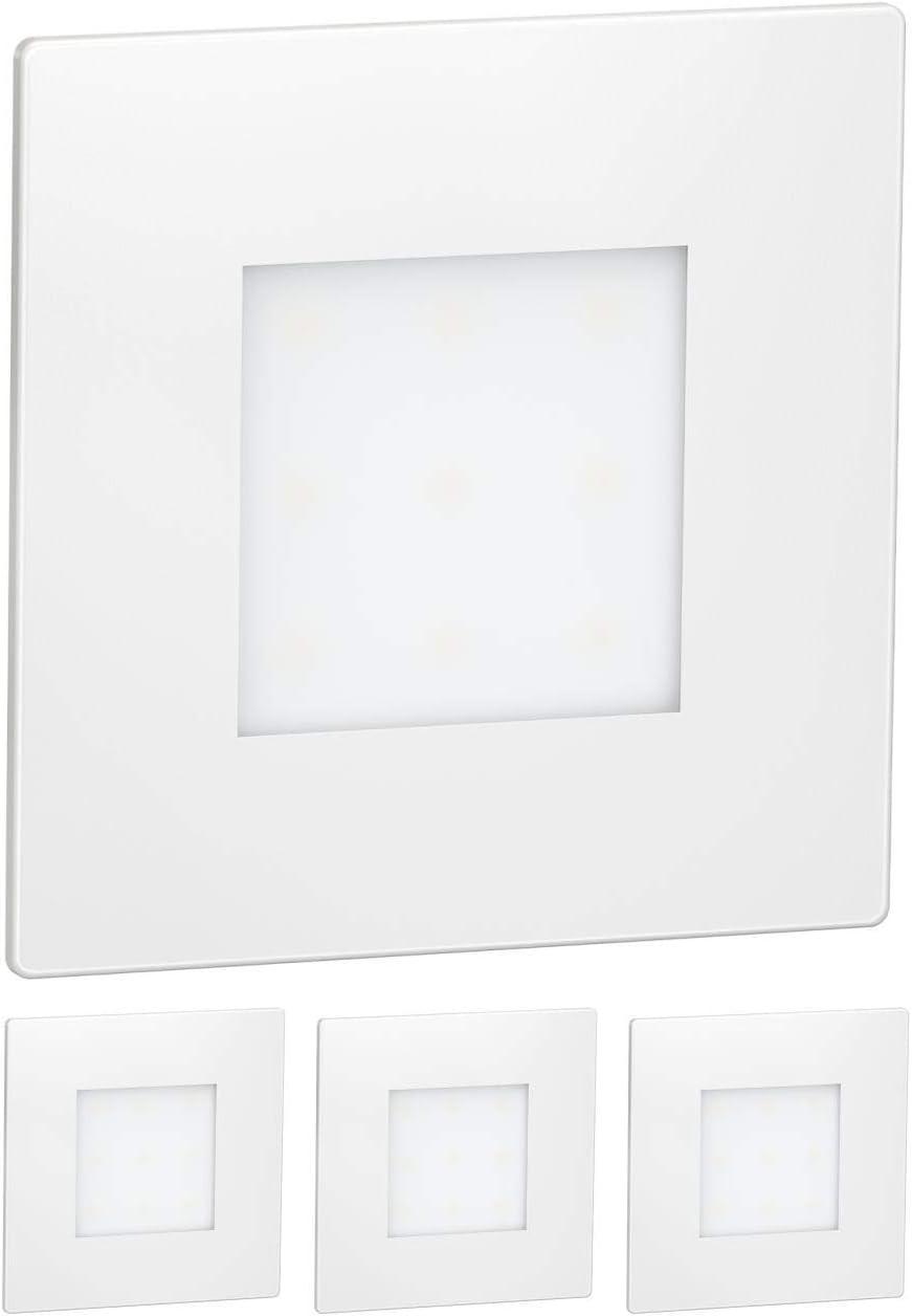 8,5x8,5cm azul 4 UDS 230V angular ledscom.de LED l/ámpara de escalera FEX l/ámpara empotrable en la pared