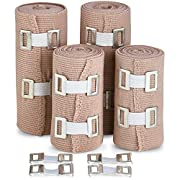 Elastic Compression Bandage Wrap – Premium Quality (Set of 4) with Hooks, Athletic Sport Support Tape Rolls for Ankle…