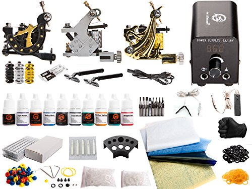 1TattooWorld Deluxe Tattoo Kit 3 Tattoo Machines, Digital Power Supply, 10 Color 5ml Tattoo inks, Grips, Needles, Transfer Paper etc, OTW-KTB325A - High Quality Tattoo Machines