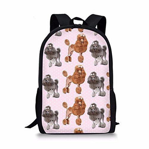 Dzulife School Backpacks for Girls Kids Elementary School Bags Bookbag Poodle Polka Dot Print 17 Inch Back Packs Light Pink (17 Inch Laptop Bag Polka Dot)
