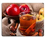 Luxlady Gaming Mousepad IMAGE ID: 34148983 Apple cider with cinnamon sticks spices and fresh apples on wooden background