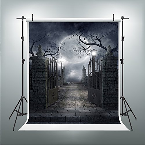 (Maijoeyy 5ftx7ft Halloween Backdrop Halloween Backdrop for Pictures Horrible Cemetery Photography Props)