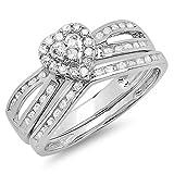 0.45 Carat (ctw) 10k White Gold Round Diamond Ladies Split Shank Heart Shaped Bridal Engagement Ring Matching Band Set 1/2 CT (Size 6)