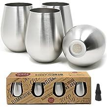 Unbreakable Stainless Steel Wine Glasses - Set of 4 Plus Bonus Wine Stopper - Stemless Shatterproof Wine Glasses - 18 oz - by Cork & Mill