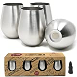 giant wine goblet - Cork & Mill Stainless Steel Wine Glasses, Set of 4 w/Bonus Wine Stopper, 18 oz, Stemless and Shatterproof