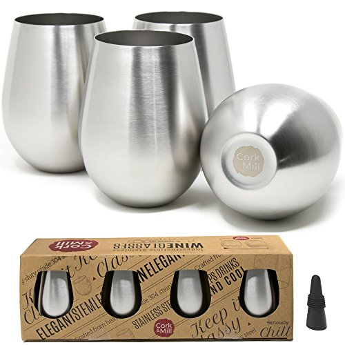 Cork & Mill Stainless Steel Wine Glasses, Set of 4 w/Bonus Wine Stopper, 18 oz, Stemless and Shatterproof