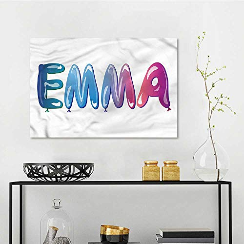 one1love Emma Original Oil Painting Feminine Balloon Name On Canvas Abstract Artwork W23 xL15 -