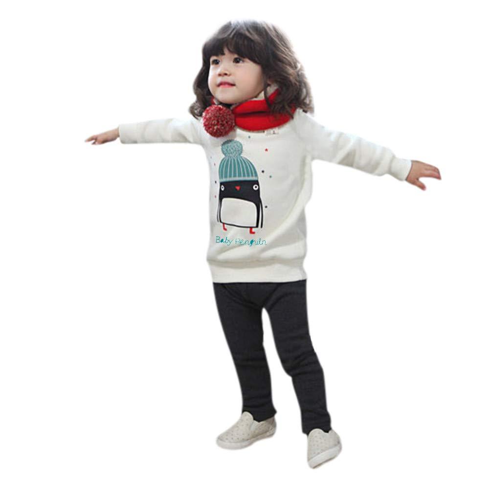Cappotto Elegante Bambina Felpa Toddler Bambini Bambino Manica Lunga O Collo Stampa Pinguino Cime Felpa Giacche Bambina Autunno T-shirt Top Maglietta Maglia Camicetta Morwind