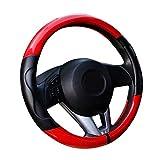 "Rayauto Automotive Comfort Carbon Fiber Leather Car Steering Wheel Cover 38cm 15"""