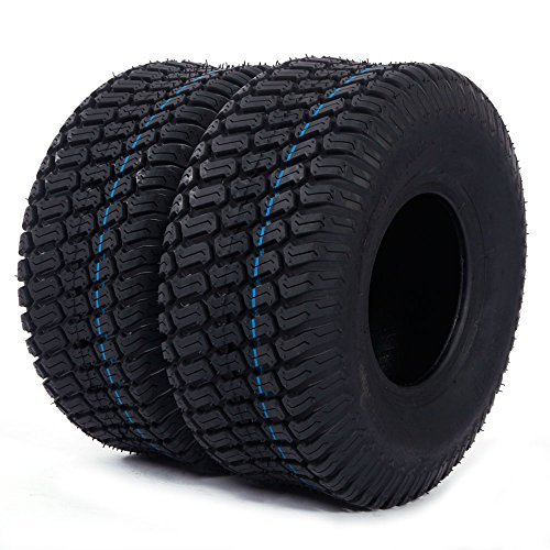 Turf Tractor Tire (2PC 15x6.00-6 Turf Tires 4 Ply for Lawn and Garden Tractor Mover)