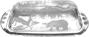 Hand Etched Permanently Sandblasted (Sand Carved) Butter Dish Serving Tray Handmade USA (Forest Mountain Animal Combo)