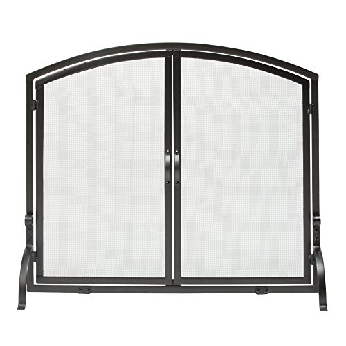 Uniflame, S-1064, Large Single Panel Black Wrought Iron Screen with Doors