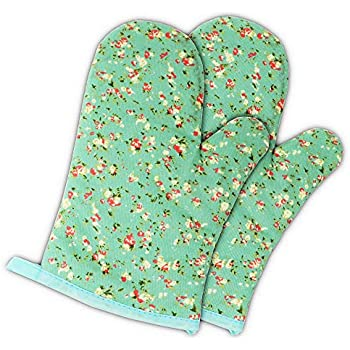 Set of Two Oven Mitts | Heat Resistant Cotton Kitchen Pot Holder Gloves for Cooking,Barbecue,Baking,Grilling (Petite Flowers)