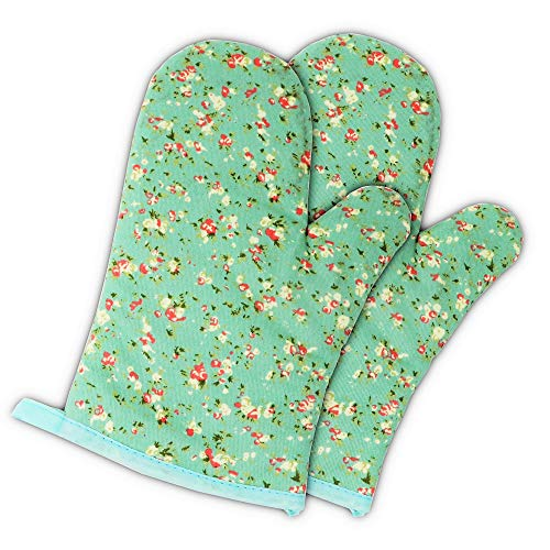 (Set of Two Oven Mitts | Heat Resistant Cotton Kitchen Pot Holder Gloves for Cooking,Barbecue,Baking,Grilling (Petite Flowers) )