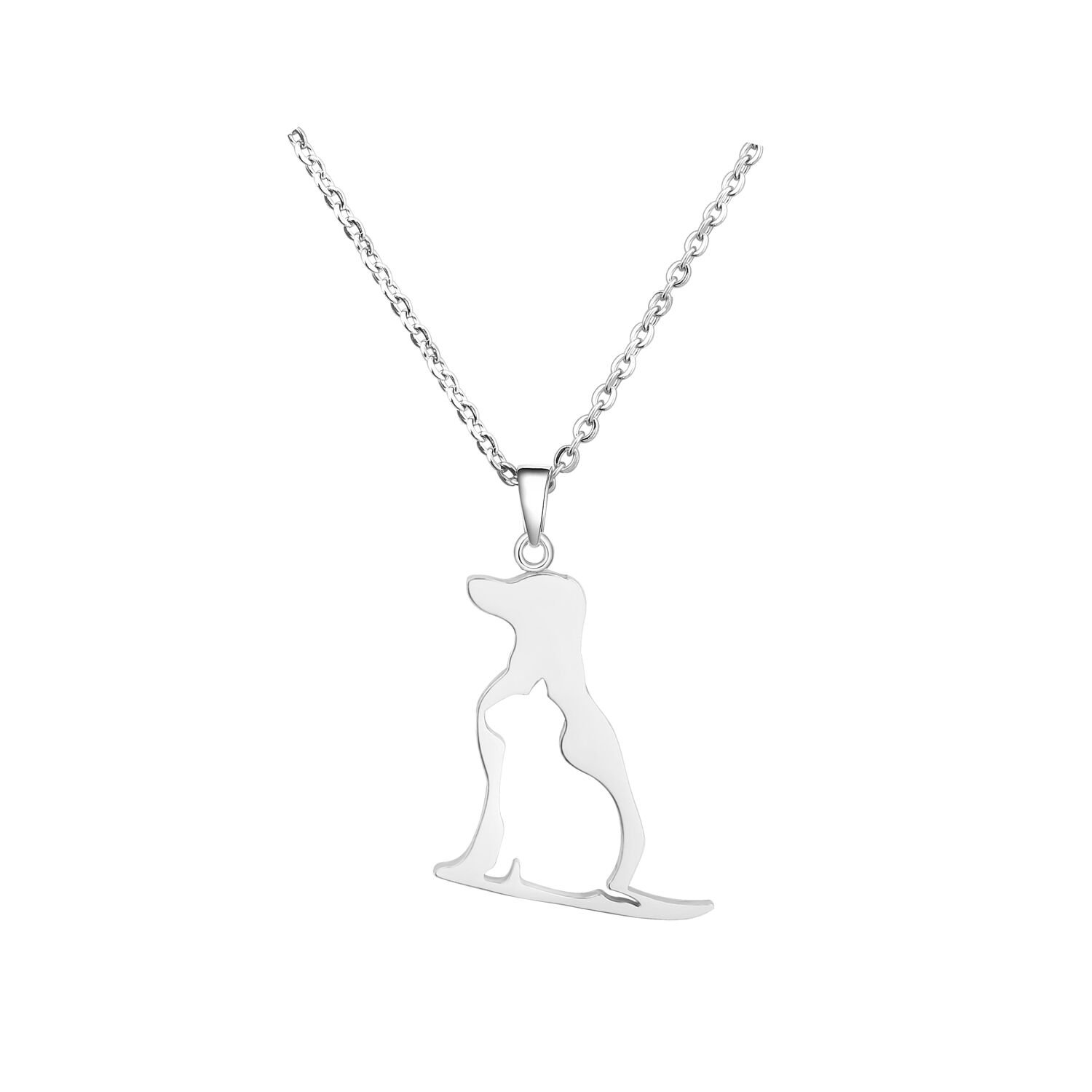 BNQL Dog Cat Necklace Pet Pendant Necklace for Animal Lover (Silver)