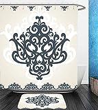 Beshowereb Bath Suit: Showercurtain Bathrug Bathtowel Handtowel Arabesque Middle Eastern Islamic Motif with Arabic Effects Filigree Swirled Artsy Print Pearl Grey