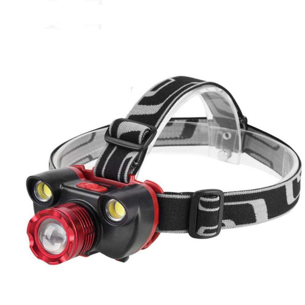 KLSHW Zoom LED Strong Headlights Super Bright Long-Range Rechargeable Head-Mounted Flashlight Night Fishing Outdoor Lighting