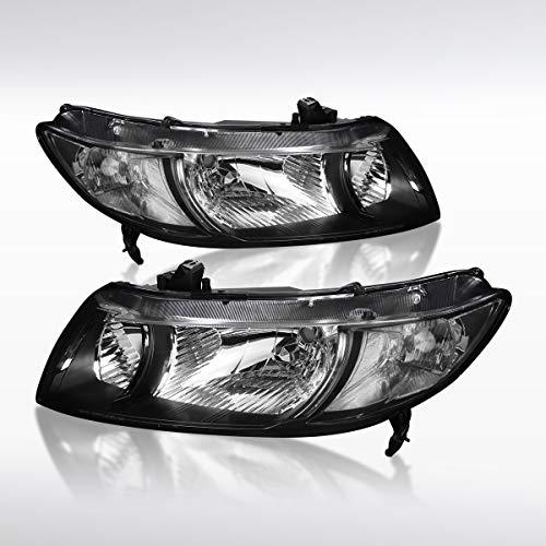 Autozensation For Honda Civic 2Dr Coupe JDM Black Diamond Headlights - Honda Halo Projector 2dr Civic