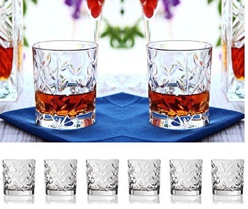 (Set Of Six Whiskey Scotch Bourbon Crystal Double Old Fashioned Glasses,With Leaf/ Twig Design, DOF Tumbler Glasses Holds 10oz)