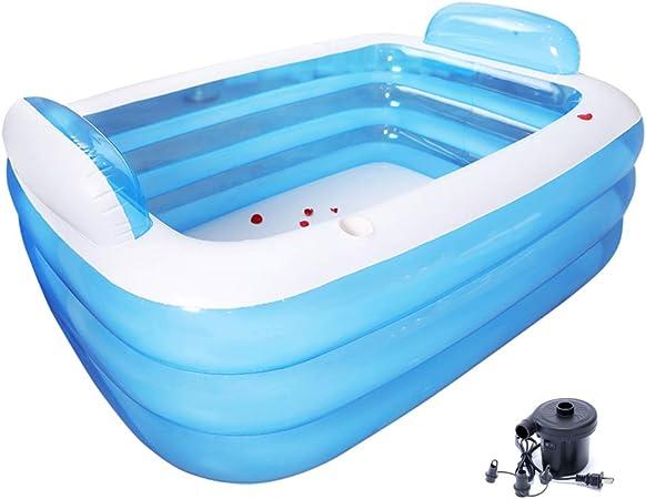 Tech-L Bañera Inflable 180x160x40cm Parejas Baño Barril Plegable Adulto Engrosado PVC Portátil Bañera Doble Relajación SPA Piscina Tres Capas Gran Tamaño Azul