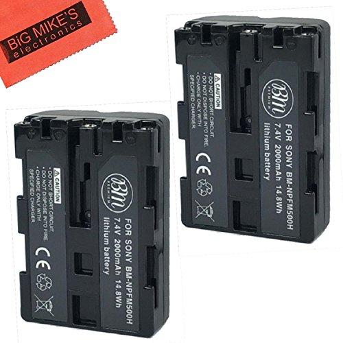 BM Premium Pack Of 2 NP-FM500H Batteries for Sony Alpha a77II, a68, SLT-A57, SLT-A58, SLT-A65V, SLT-A77V, SLT-A99V, SLT-A100, SLT-A200, SLT-A300, SLT-A350, SLT-A450, SLT-A500, SLT-A550, SLT-A560, SLT-