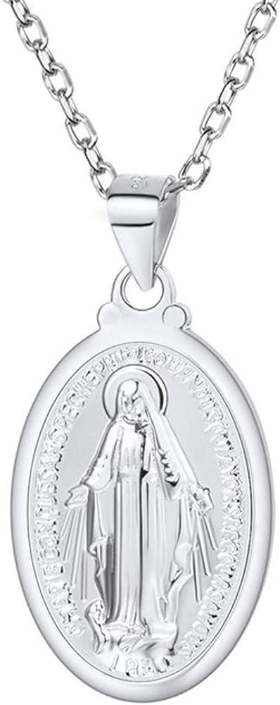 U7 Collar con Colgante de Santa María Medalla Milagrosa Chapado en Oro 18K/Oro Rosado/Platino con Cadena Fina 55cm Ajustable