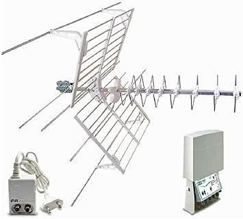 Fracarro - Kit 13 EVO Antena digital terrestre 1 antena azul Combo LTE + amplificador + fuente de alimentación 217945