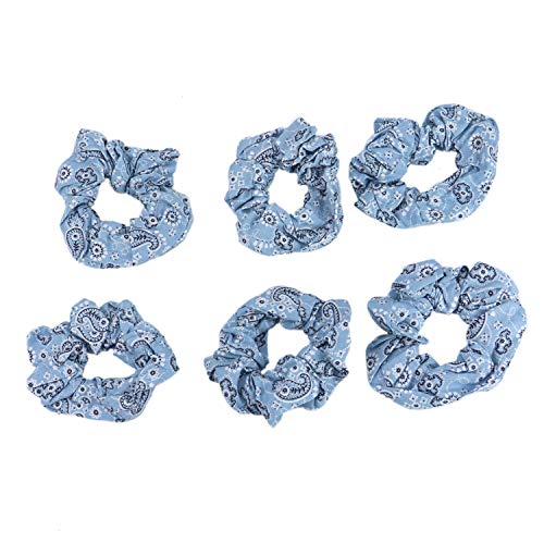 Monrocco 6pcs Blue Cotton Bandana Scrunchies Bobbles Ponytail Holders Hair Ties
