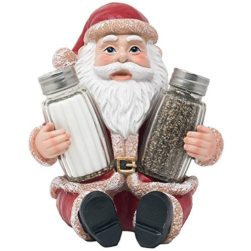 Whimsical Santa Claus Salt and Pepper Shaker Set Figurine As Display Stand Spice Rack Holder Statue For Decorative Christmas Kitchen Decor