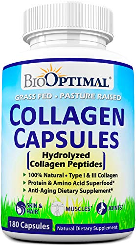 (BioOptimal Collagen Pills - Collagen Supplements, Grass Fed, 180 Capsules, Non-GMO, for Women & Men, Benefits Skin, Hair, Nails & Joints, Collagen Capsules, Premium Quality )