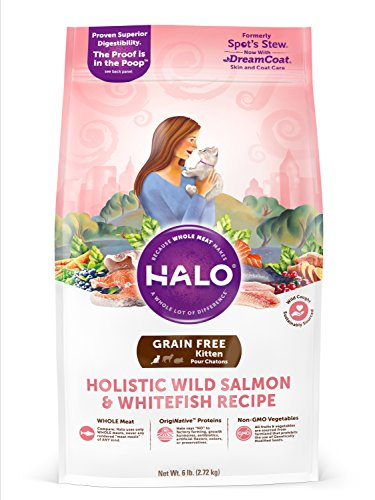 - Halo Grain Free Natural Dry Cat Food, Kitten Wild Salmon & Whitefish Recipe, 6-Pound Bag
