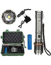 Six Foxes LED Taschenlampe, Super Hell Taktische Taschenlampe Tragbare Wasserdichte Taschenlampe mit Einstellbarem Fokus und 5 Lichtmodi