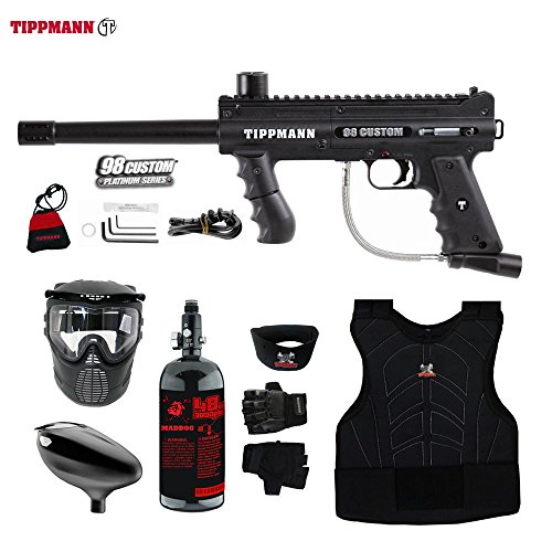 Accessories 98 Tippmann Model (MAddog Tippmann 98 Custom Beginner Protective HPA Paintball Gun Package - Black)