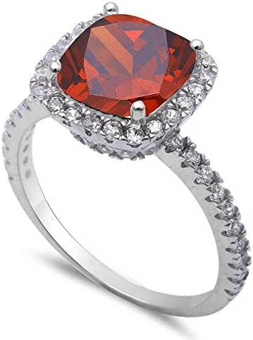 Simulated Garnet & Cz .925 Sterling Silver Ring Sizes 4-11