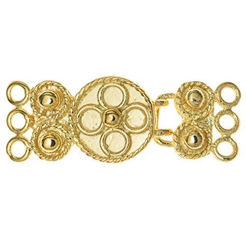 - 1 set .Gold on 925 Sterling Silver 3 Strands Flower Hook Eye Clasp 24mm/Findings/Yellow Gold