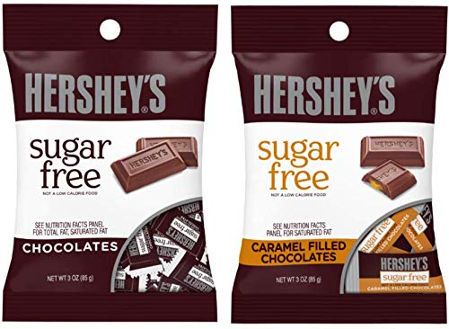 Sugar Free Chocolate, Hershey's Sugar-Free Caramel Filled Chocolates, 3 Ounces.