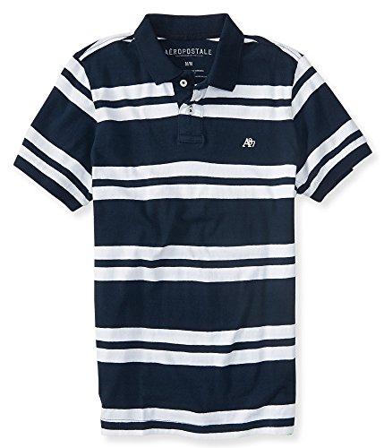 Aeropostale Men's A87 Bar Stripe Logo Jersey Polo Shirt M Deep Navy