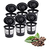 keurig permanent coffee filter - Xubox Reusable Coffee Filter, 6 Refillable Coffee Solo Filter Pod Single Stainless Mesh Compatible with Keurig Coffee Brewer System, Black Reusable Coffee Filters
