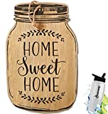 HomeCricket Gift Included- Rustic Country Farmhouse Mason Jar Kitchen Decorating Wall Hanging Decor Saying Home Sweet Home + FREE Bonus Water Bottle by Home Cricket