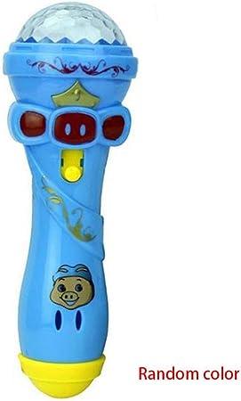 Babysbreath17 Ni/ños de Juguete de Dibujos Animados de iluminaci/ón Micr/ófono Karaoke palillo de luz del proyector de Regalo de los ni/ños del Color Aleatorio